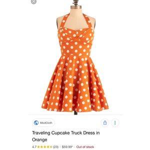 Modcloth Traveling Cupcake Dress in Orange